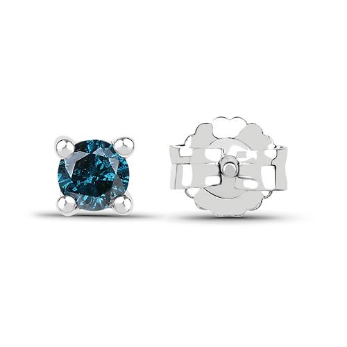 0.20 Carat Genuine Blue Diamond .925 Sterling Silver Earrings