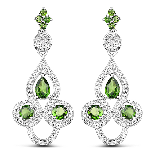Earrings-2.28 Carat Genuine Chrome Diopside and White Topaz .925 Sterling Silver Earrings