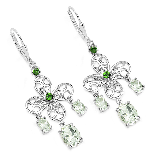 Amethyst-5.58 Carat Genuine Green Amethyst and Chrome Diopside .925 Sterling Silver Earrings