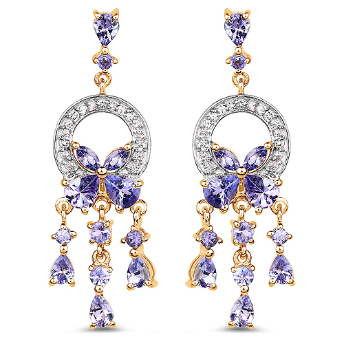 Earrings-14K Yellow Gold Plated 3.22 Carat Genuine Tanzanite and White Topaz .925 Sterling Silver Earrings