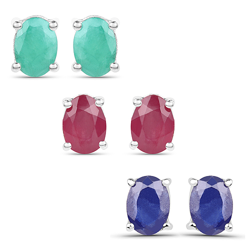 Emerald-5.30 Carat Emerald, Glass Filled Ruby and Glass Filled Sapphire .925 Sterling Silver Earrings