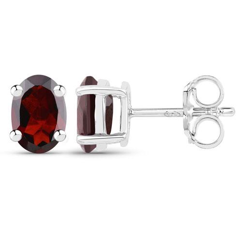 1.70 Carat Genuine Garnet .925 Sterling Silver Earrings