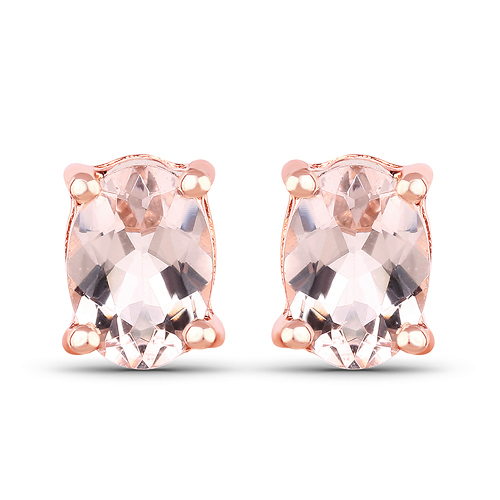 Earrings-14K Rose Gold Plated 1.40 Carat Genuine Morganite .925 Sterling Silver Earrings