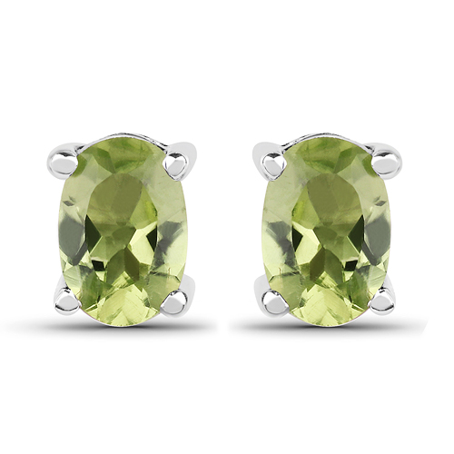 Peridot-1.66 Carat Genuine Peridot .925 Sterling Silver Earrings
