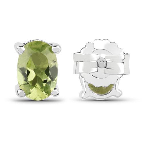 1.66 Carat Genuine Peridot .925 Sterling Silver Earrings