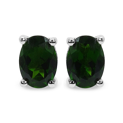 Earrings-0.94 Carat Genuine Chrome Diopside .925 Sterling Silver Earrings