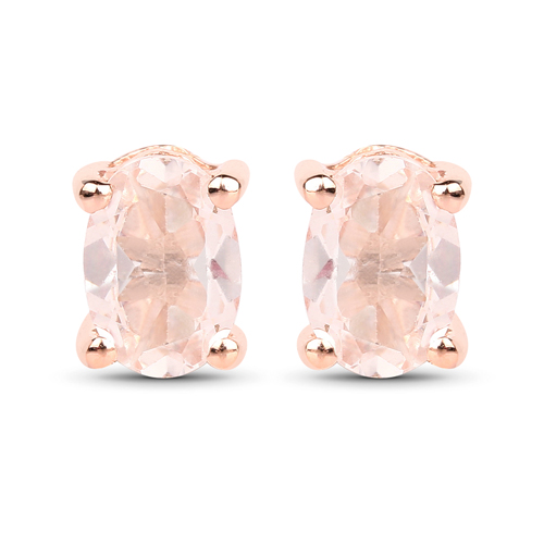 Earrings-18K Rose Gold Plated 0.80 Carat Genuine Morganite .925 Sterling Silver Earrings