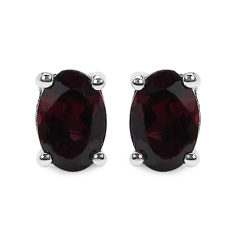 Earrings-1.04 Carat Genuine Rhodolite .925 Sterling Silver Earrings