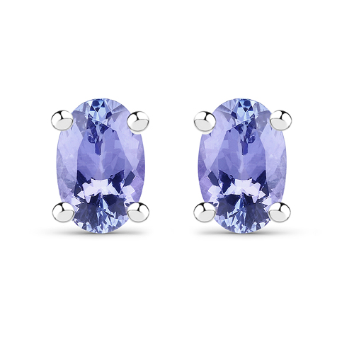 Earrings-0.88 Carat Genuine Tanzanite .925 Sterling Silver Earrings