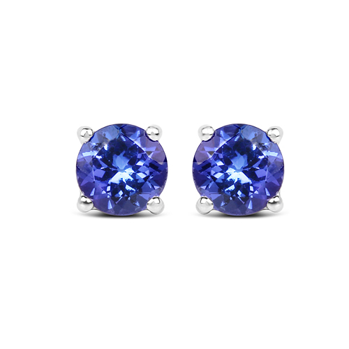 Earrings-0.94 Carat Genuine Tanzanite 14K White Gold Earrings