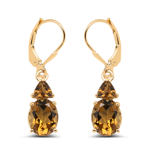 Earrings-14K Yellow Gold Plated 5.90 Carat Genuine Champagne Quartz .925 Sterling Silver Earrings