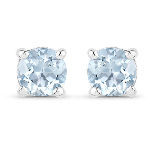 Earrings-0.44 Carat Genuine Aquamarine .925 Sterling Silver Earrings