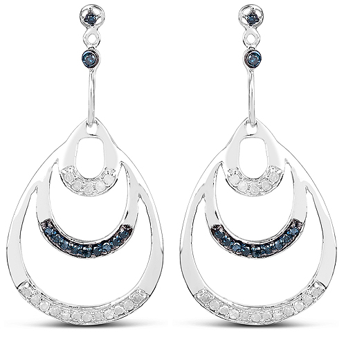 Earrings-0.52 Carat Genuine White Diamond and Blue Diamond .925 Sterling Silver Earrings