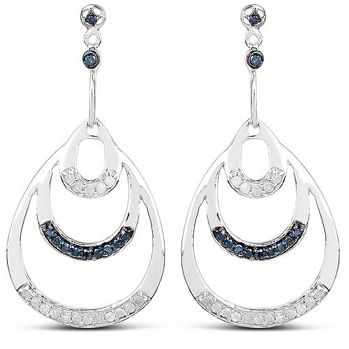 0.52 Carat Genuine White Diamond and Blue Diamond .925 Sterling Silver Earrings
