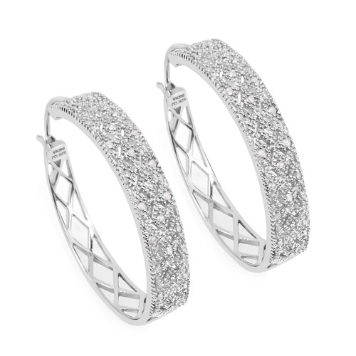 Earrings-0.31 Carat Genuine White Diamond .925 Sterling Silver Earrings