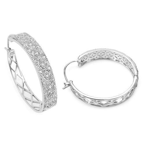 0.31 Carat Genuine White Diamond .925 Sterling Silver Earrings