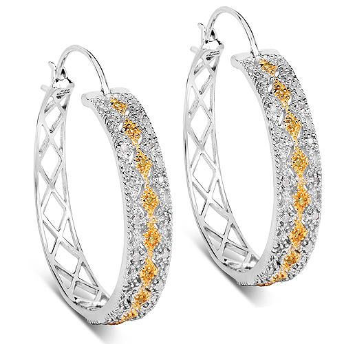 Earrings-0.31 Carat Genuine White Diamond and Yellow Diamond .925 Sterling Silver Earrings
