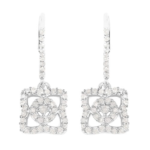Earrings-0.56 Carat Genuine White Diamond .925 Sterling Silver Earrings