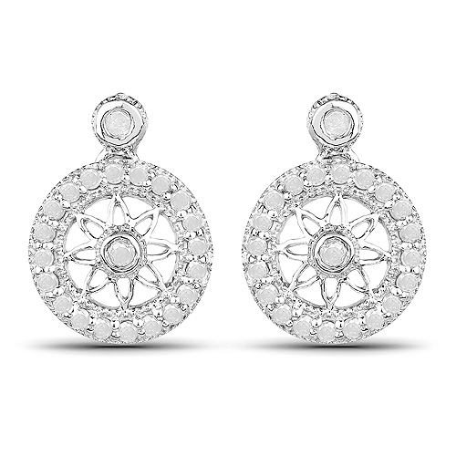 Earrings-0.71 Carat Genuine White Diamond .925 Sterling Silver Earrings