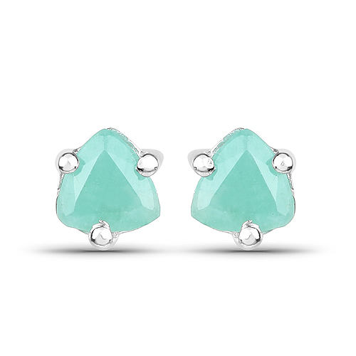 Emerald-0.46 Carat Genuine Emerald .925 Sterling Silver Earrings