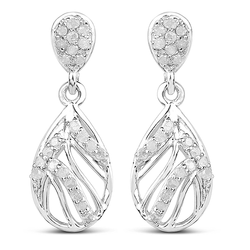 Earrings-0.49 Carat Genuine White Diamond .925 Sterling Silver Earrings