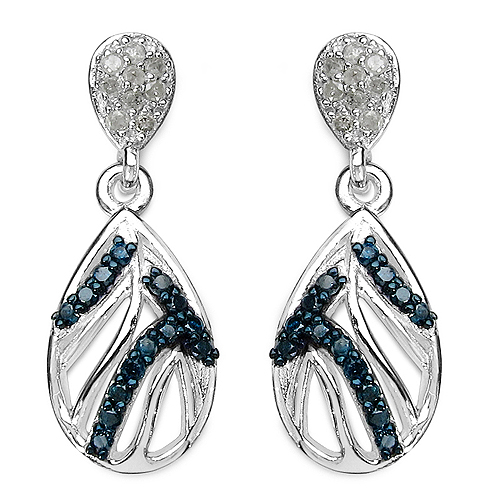 Earrings-0.49 Carat Genuine Blue Diamond & White Diamond .925 Sterling Silver Earrings
