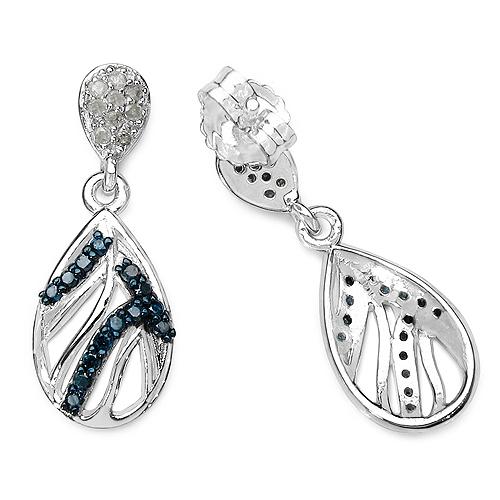 0.49 Carat Genuine Blue Diamond & White Diamond .925 Sterling Silver Earrings