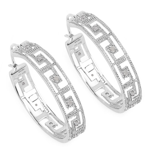 Earrings-0.30 Carat Genuine White Diamond .925 Sterling Silver Earrings