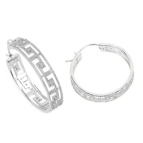 0.30 Carat Genuine White Diamond .925 Sterling Silver Earrings