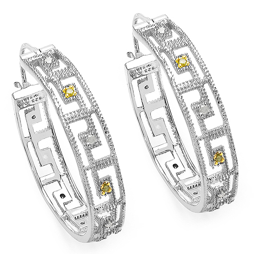 Earrings-0.30 Carat Genuine White Diamond & Yellow Diamond .925 Sterling Silver Earrings