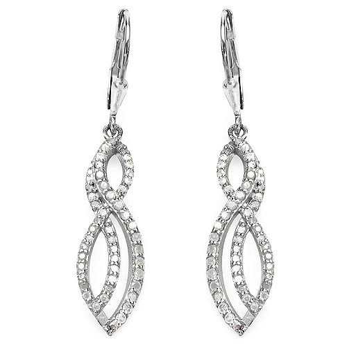 Earrings-0.76 Carat Genuine White Diamond .925 Sterling Silver Earrings