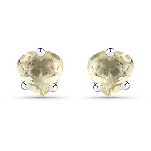 0.82 Carat Genuine Lemon Quartz .925 Sterling Silver Earrings