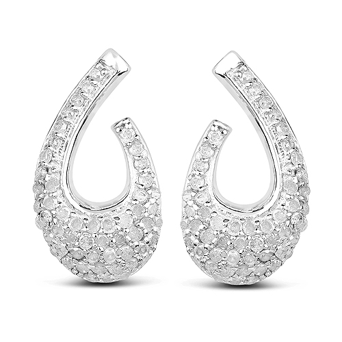 Earrings-0.64 Carat Genuine White Diamond .925 Sterling Silver Earrings