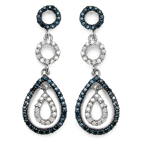 Earrings-0.90 Carat Genuine Blue Diamond & White Diamond .925 Sterling Silver Earrings
