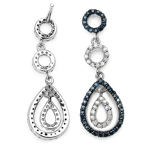 0.90 Carat Genuine Blue Diamond & White Diamond .925 Sterling Silver Earrings