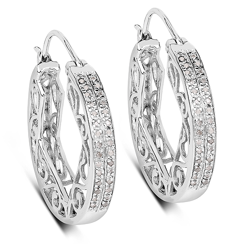 Earrings-0.24 Carat Genuine White Diamond .925 Sterling Silver Earrings