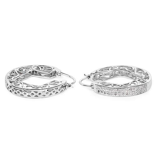 0.24 Carat Genuine White Diamond .925 Sterling Silver Earrings