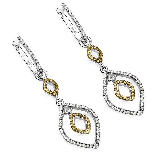 Earrings-1.00 Carat Genuine White Diamond & Yellow Diamond .925 Sterling Silver Earrings
