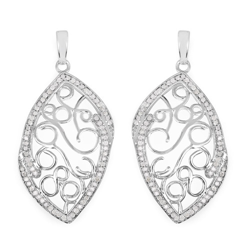 Earrings-0.73 Carat Genuine White Diamond .925 Sterling Silver Earrings