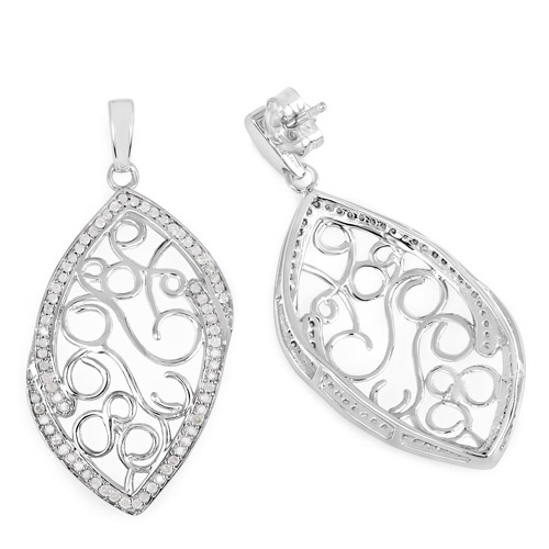 0.73 Carat Genuine White Diamond .925 Sterling Silver Earrings