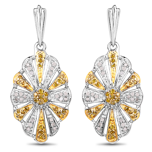Earrings-0.54 Carat Genuine White Diamond and Yellow Diamond .925 Sterling Silver Earrings