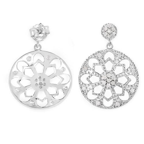 0.60 Carat Genuine White Diamond .925 Sterling Silver Earrings