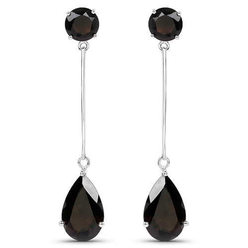 Earrings-12.06 Carat Genuine Smoky Quartz .925 Sterling Silver Earrings