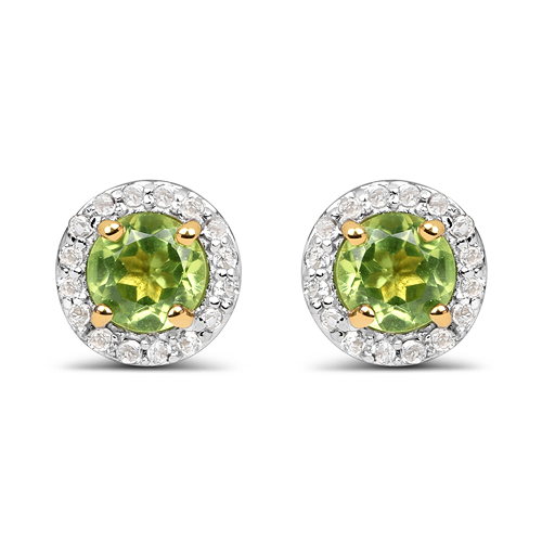Peridot-14K Yellow Gold Plated 1.16 Carat Genuine Peridot & White Topaz .925 Sterling Silver Earrings