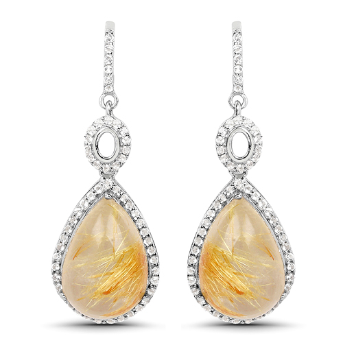 Earrings-10.04 Carat Genuine Golden Rutile And White Topaz .925 Sterling Silver Earrings