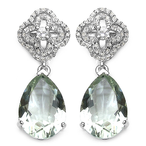 Amethyst-9.14 Carat Genuine Green Amethyst and White Topaz .925 Sterling Silver Earrings