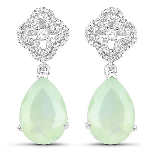 Earrings-10.07 Carat Genuine Prehnite And White Topaz .925 Sterling Silver Earrings
