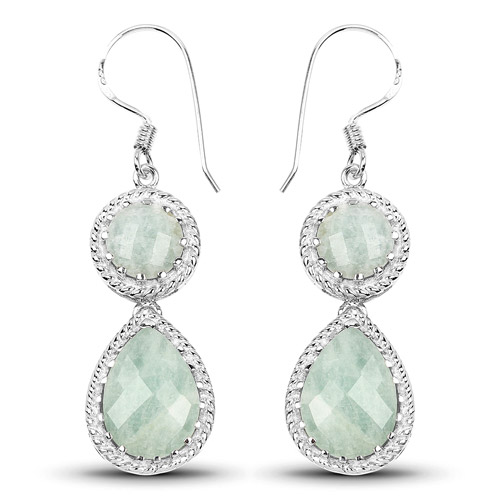 Earrings-11.82 Carat Genuine Aquamarine .925 Sterling Silver Earrings