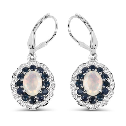 Opal-2.80 Carat Genuine Ethiopian Opal, Blue Sapphire and White Topaz .925 Sterling Silver Earrings