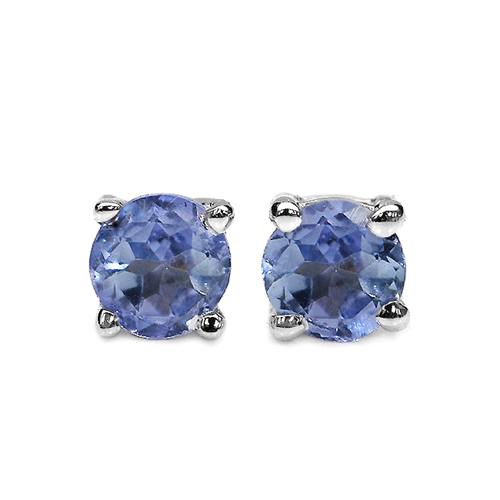 Earrings-0.20 Carat Genuine Tanzanite .925 Sterling Silver Earrings
